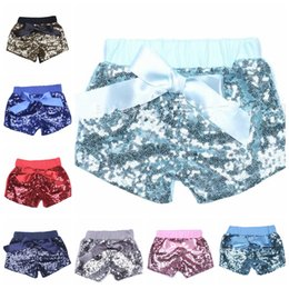 Wholesale Grils Shorts - baby grils Sequin Shorts Bowknot Summer Infant Kids Party glitter lavender shorts Bling Dance Shorts Casual Fashion Pants KKA4368