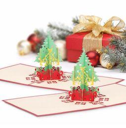 Cartão de dobramento novo on-line-Merry Christmas Gift Cards 3D Árvore de Natal Xmas Pop Up Folding Tipo de Cartão Para Navidad Natal Favores Do Partido de Ano Novo Cartões