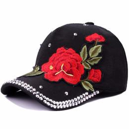 f7166bdf6ce91 Myelo Vintage Ethnic Floral Embroidery Baseball Caps Hats Big Rose Flower  Patch Rhinestone Baseball Hats Women Lady Sports Caps
