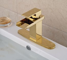 Wholesale Cover Decks - Gold Brass Waterfall Spout Single Lever Batrhroom Sink Basin Faucet Mixer Tap With Hole Cover Plate