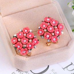 Wholesale Red Resin Cuff - 3 pairs of rose flower ear clip Korean explosion models resin ceramic cute ear nails wholesale