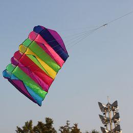 Wholesale Kite Big - Kids Outdoor Sports Kite Big Size 135*75cm Single-line Kite Software Eight Holes Umbrella Foldable Portable Large Force Rainbow