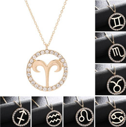 Wholesale Pisces Pendant Necklace - Fashion 12 Zodiac Signs Pendant Necklaces With Rhinestone Necklaces For Women Girl Gift Aries Taurus Pisces