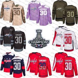 2018 Stanley Cup Champions 30 ilya samsonov washington capitals Green red  USA Flag Purple Fights Cancer Practice camo Veterans Day Jerseys affordable  ice ... 5456c55da