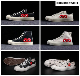 China 2018 New Converse All Stars Shoes CDG Canvas Big eyes Hearts Brand  Beige Black designer 5ef7702a5