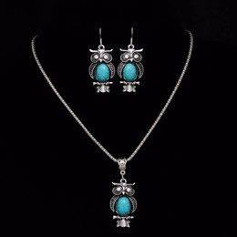 Wholesale tibetan set earrings necklaces - New Design Owl Jewelry Sets Tibetan Blue Stone Chain Necklace & Pendants Owl Shaped Stud Earrings Women Collar