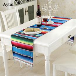 2019 decorações da festa Aytai Mexicano Serape Table Runner Fiesta Temático Decoração Do Partido Mexicana Toalha De Mesa De Algodão Azul Cobertor De Mesa Corredor desconto decorações da festa