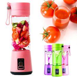 Wholesale Electric Juicers - 380ML Personal Blender With Travel Cup USB Portable Electric Juicer Blender Rechargeable Juicer Bottle Fruit Vegetable Kitchen Tools WX9-374