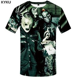 punk band tees Promo Codes - KYKU Slipknot Tshirt Men Band T Shirt Green Hip Hop Tee Streetwear Anime Clothes Character 3d T-shirt Punk Rock Mens Clothing