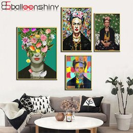 Wholesale artist picture - BalleenShiny Wall Art Picture Canvas Painting Print Artist Frida Kahlo On Canvas Home Decor Poster For Living Room No Frame