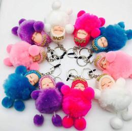 Mini llavero de coche led online-Encantador Mini Baby Sleeping Baby Ball bola de pelo llavero llavero de la muñeca de la felpa lindo regalo de navidad cumpleaños niñas niños coche bolsa de teléfono llavero colgante