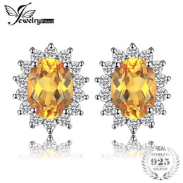 2019 joyería de diana JewelryPalace Kate Princess Diana 1.1ct Natural Citrine Halo Stud Earrings 925 joyería fina de plata S18101207 rebajas joyería de diana