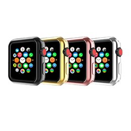 Wholesale Bracelet Box Pink - For Apple Watch Strap Series 1 2 3 Generat TPU Electroplate 4 Color With Box Watch Cases Breathable Smart Watch Cover Bracelet