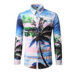 Meninos botão top on-line-Palm Tree Imprimir Praia Casual Camisa Meninos Agradável Colorido Tops Desgaste Do Verão Bonito Menino Novidade Coberto Camisas Botão Moda Homem