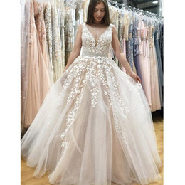 Wholesale Bamboo Tulle - Vintage South Africa Prom Gown 2018 V Neck Lace Applique Zipper Sweep Train Arabic Dresses Party Evening Wear Homecoming Formal Wear 2017