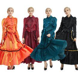 2019 costumes de robes de bal halloween Rétro femmes robe victorienne âge industriel partie vampire cosplay costume Bustle robe de bal supérieure veste jupe ensemble costumes de robes de bal halloween pas cher