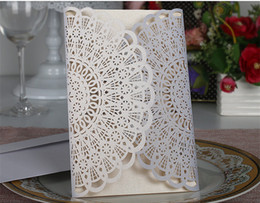Canada 2018 Nouveaux designs européens Invitations de mariage creuses Personnalisé sur mesure Découpé au laser Mariage Business Party Invite Cartes Offre