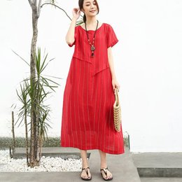 07833aa6bee 2018 Summer New Arrival Linen Cotton Women Short Sleeve Stripe Red Dress  Free Shipping For All and Cheaper Fast Delivery Service