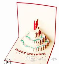 Tarjeta de pastel 3d Tarjeta de cumpleaños dorada creativa Bendición de acuarela se puede personalizar Tarjeta del día de San Valentín en general Día del maestro desde fabricantes