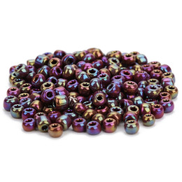 wholesale small black beads Promo Codes - 40gram lot(about450pcs) Small Loose Beads For Home DIY Made Bracelet Pendent Glass Beads With 8Colors With Whole Diameter 4mm*Hole Diameter
