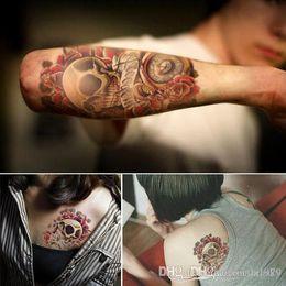 Frete grátis. Adesivos de tatuagem do corpo, à prova d 'água e suor flor e grande braço tatuagem adesivos arge braço tatuagem adesivos de Fornecedores de tatuagens pretas da mão da hena