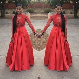 Vestido rojo princesa hinchada online-2018 Sexy Plus Size Red Formal Vestido de baile Vestidos Black Girl Escote en V Encaje Mangas Puffy Skirt Princess Long Sleeves Vestidos de noche