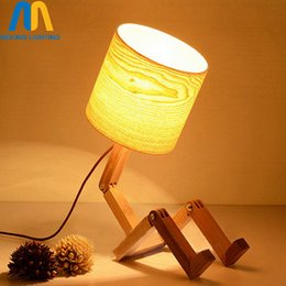 Wholesale Robot Table Lamp - modern wood robot table lamps for living room bedside bedroom switch led desk vintage lights e27 110v 220v for decor