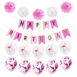1 satz hawaii Happy Birthday Banner Weißbuch blume Garland Pompom Geburtstag Dekorationen Mädchen Jungen Kinder Baby Party Favors von Fabrikanten