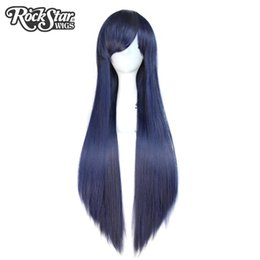 cosplay white straight long hair Coupons - Rockstar Wigs 16Colors 80cm Long Straight Black Blond Synthetic Hair Heat Resistant Fiber Red Cosplay Hair Wigs