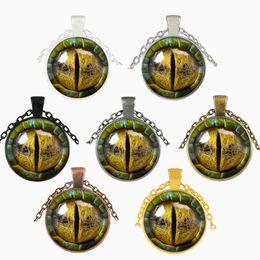 collar para gafas Rebajas 3D Dragon Eye Necklace Time Gemstone Man Woman Glass Cabochon Dome Joyería Colgante Favor de partido Artes Artesanía Regalos 3 5jj bb