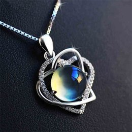 Wholesale Factory Stone - Hot silver crystal heart-shaped necklace female grape stone pendant clavicle accessories jewelry factory wholesale