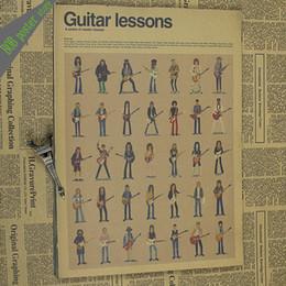 Wholesale Rock Music Decor - The Guitar master Vintage Poster retro kraft rock music master bar musical instrument cafe retro poster home decor wall sticker