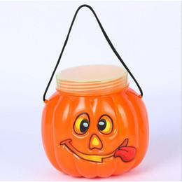 Decoración de Halloween Juegos para niños Calabaza plástica Tarro de dibujos animados Cubo de calabaza linda Cubos de caramelo infantil Cubo de calabaza portátil desde fabricantes