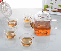 Wholesale square melamine - 5in1 Glass Tea Set -11.8fl.oz 350ml Square Shaped Glass Teapot +4x 35ml Hexagon Double Wall Cups Drop Shipping