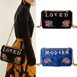 Wholesale Gold Envelopes - Fashion Marmont Loved Women Crossbody Shoulder Bags Embroidered Velvet Small Messenger Bags Flap Closure Chain Handbags Floral Wallets