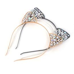 Wholesale Black Lace Cat Ears - Fashion Women Hair Hoops Cat Animal Ears Crown Tiara Headband Rhinestone Princess Hollow HairbandBezel Hair Accessories