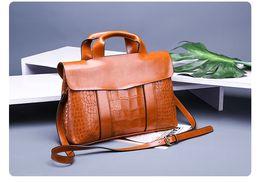 Briefcases hangbag European and American Fashion Women Sling Shoulder Bag High Quality PU Briefcases Handbag New Big Capacity Five Colors