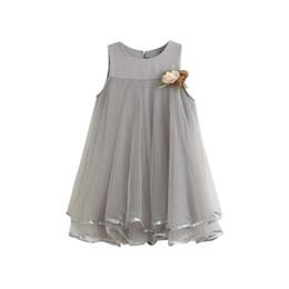 Wholesale Girls Lace Dress Brooch - Hot Sale New 2017 summer girl dress Sleeveless Chiffon princess girls dresses for party and wedding dress + Brooch 2pcs