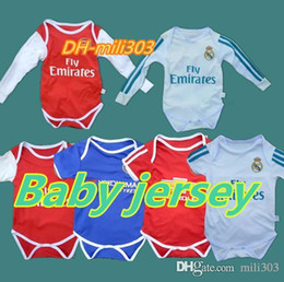 Wholesale Football Babies - 2018 Baby jersey Real Madrid shirt 1-2 years old Baby jersey Ronaldo Famous teams Little shirt Football Small 6-8 month Free shipping