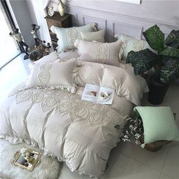 Wholesale Embroidered Pink Duvet Covers - 2018 100% washed Cotton Embroidery Luxury girls Bedding set King Queen size Bed set Duvet cover Bedsheet Pillowcases