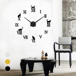 Lettres Décoratives Promotion Miroir 3D Horloges Murales DIY Chat Lettres  Aiguille De Quartz Horloge Murale Design