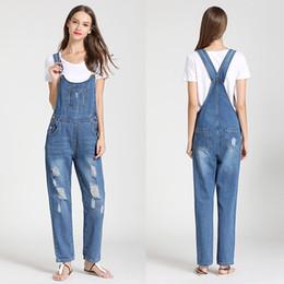 jeans macacao Sconti Tute di jeans per le donne 2018 Autunno Fashion Ripped Pagliaccetti Tuta per donna Casual Mono Mujer Blue Jeans Tuta Macacao Feminino