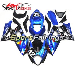 Carenado k7 azul online-Blue 12 Plastic Fairing para Suzuki GSXR1000 K7 2007 - 2008 ABS Injection Motorcycle Fairings Cascos de motocicleta de alta calidad