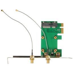 Wholesale wlan card pci - 1PC 802.11n Mini Wireless WIFI Mini PCI-E Card To PCI-E Wlan Adapter Expansion Network Card 2 Antenna WiFi Convertor