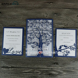 convites livres do acoplamento Desconto 50 pcs Frete Grátis Corte A Laser Happy Tree Design estilo dobrado RSVP Salvar a Data Cartões de Convite de Casamento com interior Cartões em Branco