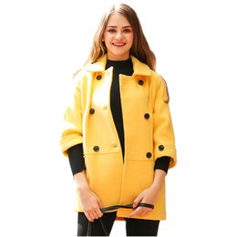 Autumn Winter Women Half Sleeve Yellow Woolen Coat Lady Fashion Double Breasted Loose Jacket Casual Turn Down Collar Parka Z323 от