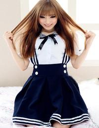 abiti cosplay giapponesi Sconti Carino Studente Cosplay Scuola giapponese uniforme Preppy Look classico Lolita Dress Sailor Collar gonna a pieghe Anime Carnival Outfit