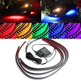 Подводные фонари онлайн-4-кратный водонепроницаемый RGB 5050 СМД Гибкие светодиодные полосы под автомобиль трубка Underglow днища система неоновые света комплект с дистанционным управлением 12В
