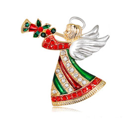 Ali angeliche colorate online-New Christmas Angel Spilla Colorful Rhinestone smalto Lega placcata in oro Pin Girl With Wing and Horn Spilla gioielli di moda