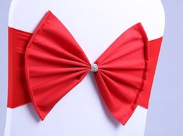 Arcos de cadeira elástica on-line-Elastic Organza Cadeira Covers Sashes Band Wedding Bow Tie Adereços Bowknot Spandex Cadeiras Sash Fivelas Tampa Traseira Hostel Trim Rosa 2 8sk